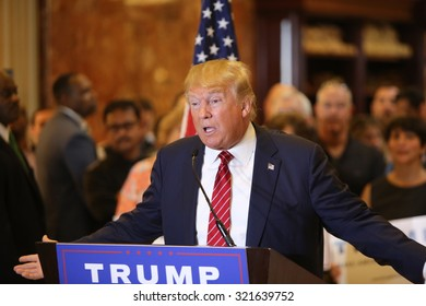 NEW YORK CITY - SEPTEMBER 28 2015: Businessman & Republican presidential candidate Donald Trump unveiled his plan for comprehensive tax reform during a press conference at Trump Tower