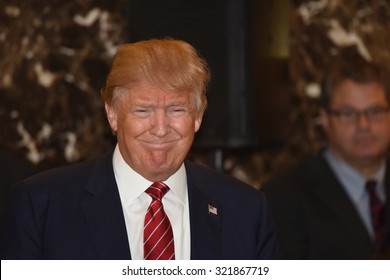 NEW YORK CITY - SEPTEMBER 28 2015: Businessman and presidential candidate Donald Trump held a press conference at Trump Tower to unveil his comprehensive tax reform plan.