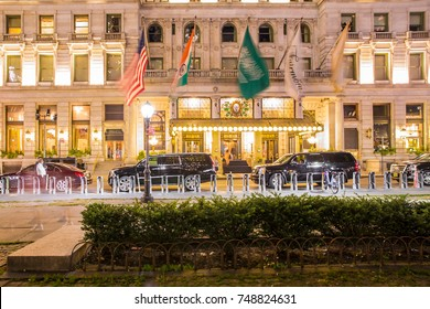 NEW YORK CITY - SEPTEMBER 28, 2017:  View of The Plaza luxury hotel on Central Park in Manhattan seen at night.