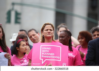 NEW YORK CITY - SEPTEMBER 29 2015: Activists and directors of Planned Parenthood, NYC, gathered in Foley Square to protest proposed cuts. Melissa Mark-Viverito, Brad Ladner & Chirlane McCray