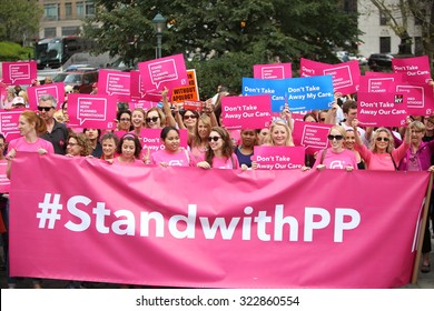 NEW YORK CITY - SEPTEMBER 29 2015: Activists and directors of Planned Parenthood, NYC, gathered in Foley Square along with NYC first lady Chirlane McCray. Pink NYCPP banner