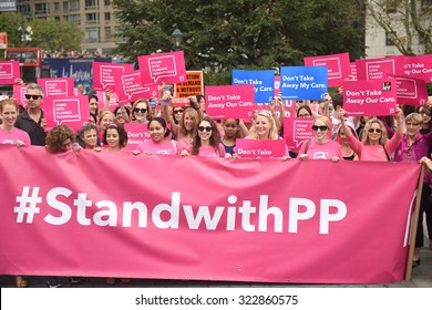 NEW YORK CITY - SEPTEMBER 29 2015: Activists and directors of Planned Parenthood, NYC, gathered in Foley Square along with NYC first lady Chirlane McCray. Pink Planned Parenthood banner