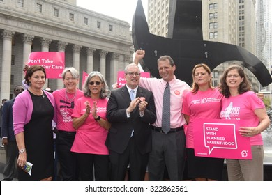 NEW YORK CITY - SEPTEMBER 29 2015: Activists and directors of Planned Parenthood, NYC, gathered in Foley Square with NYC first lady Chirlane McCray. PPNYC executives pose with elected officials
