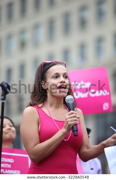 NEW YORK CITY - SEPTEMBER 29 2015: Activists and directors of Planned Parenthood, NYC, gathered in Foley Square along with NYC first lady Chirlane McCray.Perception Institute ceo Alexis McGill Johnson