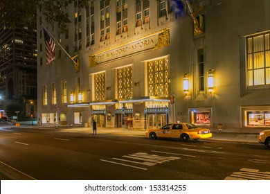 NEW YORK CITY - SEPTEMBER 2nd: The Waldorf Astoria hotel on Park Avenue is considered one of the first grand hotels and a landmark in New York City on September  2, 2013 in Manhattan, New York City.