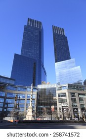 New York City - September 3, 2004: The soaring glass condominium towers of the upscale Time Warner Center at 10 Columbus Circle