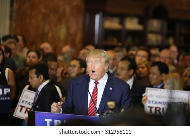 NEW YORK CITY - SEPTEMBER 3 2015: Republican presidential candidate Donald Trump announced he signed a pledge not to run as an independent candidate should he fail to win the party's 2016 nomination.