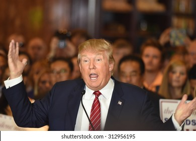 NEW YORK CITY - SEPTEMBER 3 2015: Republican presidentialt Donald Trump announced he had signed a pledge not to run as an independent candidate should he fail to win the party's 2016 nomination.