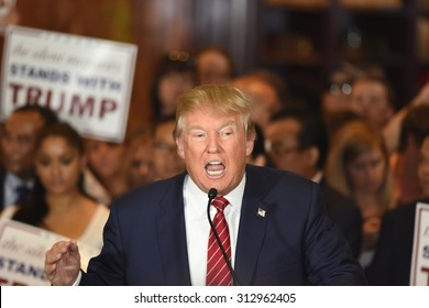 NEW YORK CITY - SEPTEMBER 3 2015: Republican candidate for president Donald Trump announced he had signed a pledge not to run as an independent candidate should he fail to win the 2016 nomination.