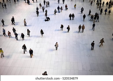 NEW YORK CITY - SEPTEMBER 30, 2016: People moving around on the ground floor of World Trade Center Transportation Hub, looking like ants