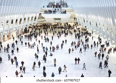 NEW YORK CITY - SEPTEMBER 30, 2016: People moving around on the ground floor inside the Oculus building in Westfield World Trade Center
