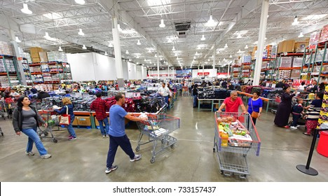 NEW YORK CITY - SEPTEMBER 30 2017: Costco stores joined other national retailers in offering an emergency survival kit for $1000.00 with supplies set to last up to 25 years. Interior of Brooklyn Costco