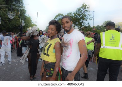 NEW YORK CITY - SEPTEMBER 5 2016: the 22nd annual pre-dawn J'Ouvert filled Flatbush Ave from Grand Army Plaza to Empire Ave as revelers celebrated West Indian heritage