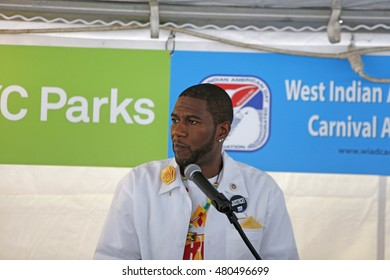 NEW YORK CITY - SEPTEMBER 5 2016: NYC mayor Bill de Blasio led the traditional West Indian Day Parade breakfast at Lincoln Terrace Park. City council member Jumaane Williams