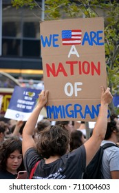 New York City - September 5, 2017: People protesting President Trump's decision to repeal the Deferred Action for Childhood Arrivals (DACA) policy in Lower Manhattan.