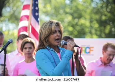 NEW YORK CITY - SEPTEMBER 7 2014: the Susan G Komen Race for the Cure took place along Central Park West with participants raising funds & awareness for breast cancer. Grand Marshal Hoda Kotb