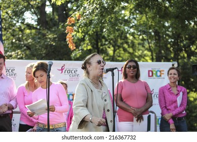NEW YORK CITY - SEPTEMBER 7 2014: the Susan G Komen Race for the Cure took place along Central Park West with participants raising funds & awareness for breast cancer. Borough president Gail Brewer
