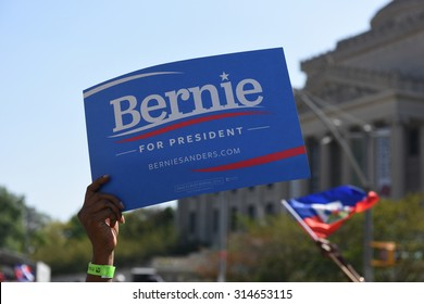 NEW YORK CITY - SEPTEMBER 7 2015: Elected officials and candidates for office filled the first two hours of the 48th annual Brooklyn West Indian Day Parade. Bernie Sanders poster & museum background