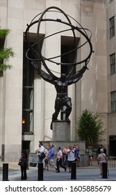 NEW YORK CITY - SEPTEMBER 8, 2019: Atlas statue by Lee Lawrie in front of Rockefeller Center in midtown Manhattan. The sculpture depicts the Ancient Greek Titan Atlas holding the heavens