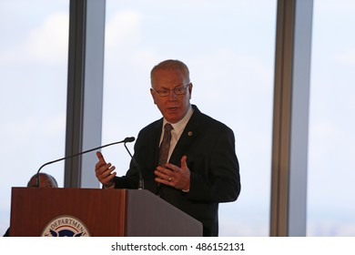 NEW YORK CITY - SEPTEMBER 9 2016: Bill de Blasio & Homeland Security Director Jeh Charles Johnson presided over the official return of the federal government's tenancy in the new World Trade Center