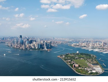 New York City Sky View With Governors Island Infront