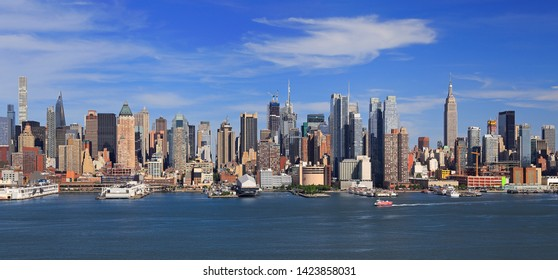 New York City skyline aerial view with Hudson River on the foreground, USA