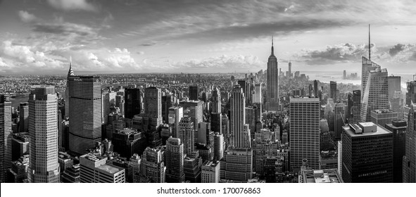 New York City skyline, aerial panorama view