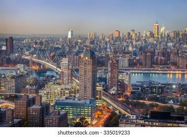 New York City skyline aerial view at sunset