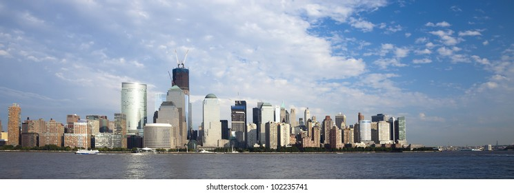 The New York City skyline at the afternoon w the Freedom tower