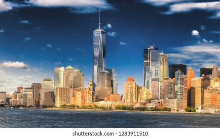 The New York City skyline at afternoon with the Freedom tower