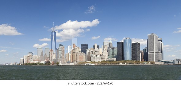The New York City skyline at afternoon w the Freedom tower 2014
