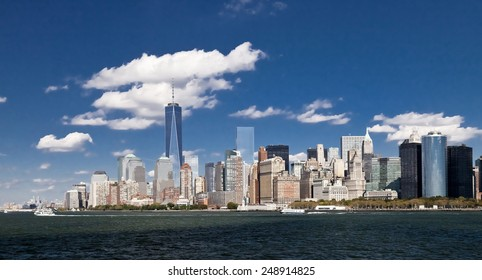 The New York City skyline at afternoon with the Freedom tower 2014
