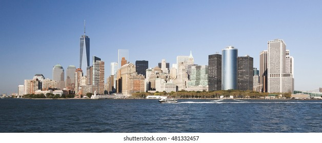 The New York City skyline at afternoon with the Financial district