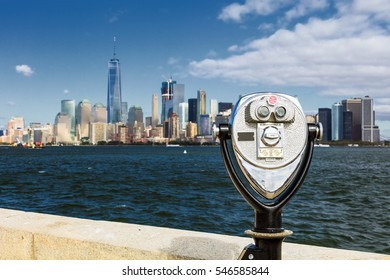 The New York City skyline at afternoon with the Binocular and the Freedom tower