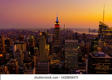 The New York City skyline (arial view) after the sunset. Manhattan, New York, USA, September 7, 2015