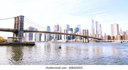 New York City skyline and Brooklyn Bridge, USA