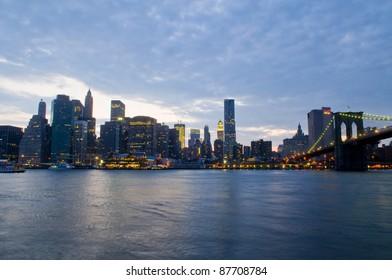 New York city skyline by night taken from Brooklyn
