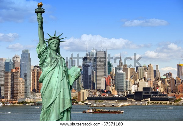 new york city skyline cityscape with statue of liberty over hudson river. with midtown Manhattan skyscrapers and freight sailing ship in usa america.