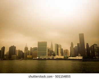 New York City skyline from Gantry Plaza State Park, across the East River on Long Island City.  Instagram type filter added.