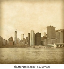 New York City skyline in grunge and retro style.