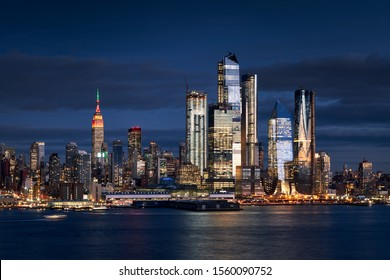 New York City skyline from the Hudson River with the skyscrapers of the Hudson Yards redevelopment project. Manhattan Midtown West, NYC, NY, USA