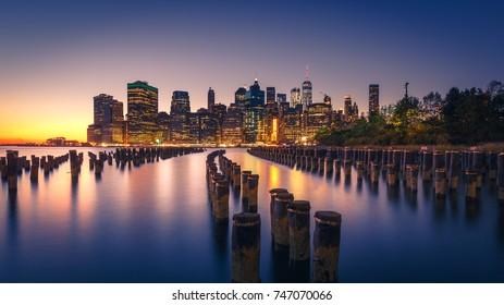 New York City Skyline Illuminated at Night