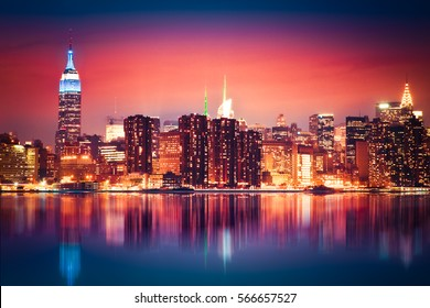 New York City skyline of Manhattan with vibrant night colors