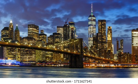 New York City skyline night Manhattan town panoramic Brooklyn Bridge World Trade Center WTC