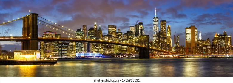 New York City skyline night Manhattan town Panorama Brooklyn Bridge World Trade Center WTC