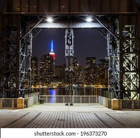 New York City skyline at night. View from Long Island City. Urban living concept