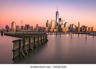 New York City skyline on the Hudson River.