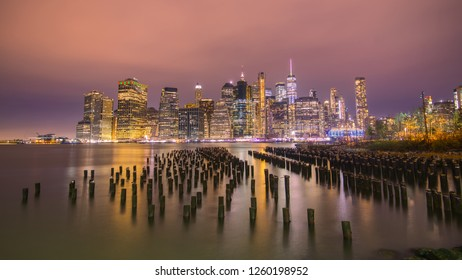New York City Skyline in one winter evening. This view is from Brooklyn bridge park.