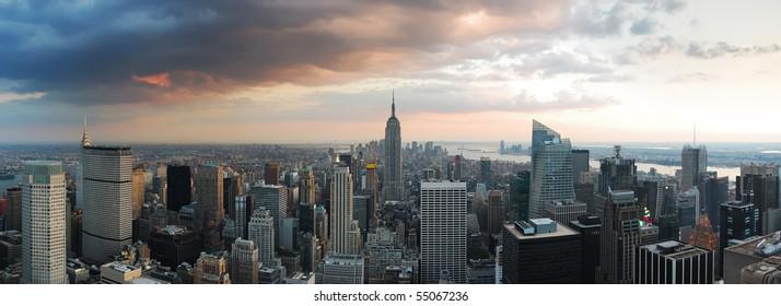 New York City skyline panorama. Manhattan aerial view.