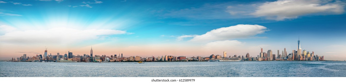New York City skyline - Panoramic view at sunset from Jersey City.